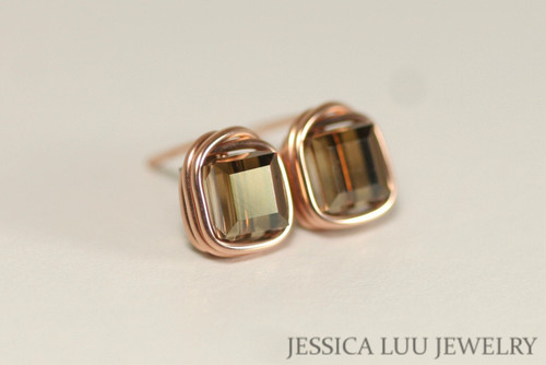 14K rose gold filled wire wrapped brown bronze shade Swarovski crystal cube square stud earrings handmade by Jessica Luu Jewelry