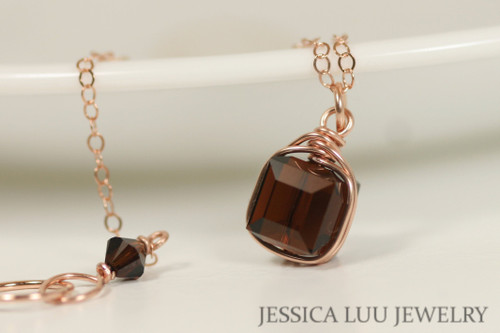 Rose Gold Dark Brown Swarovski Crystal Necklace - Available with Matching Earrings and Other Metal Options