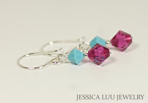 Sterling silver fuchsia pink purple turquoise blue Swarovski crystal dangle earrings handmade by Jessica Luu Jewelry