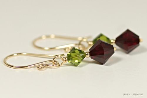 14K yellow gold filled olivine olive green siam dark red garnet Swarovski crystal dangle earrings handmade by Jessica Luu Jewelry