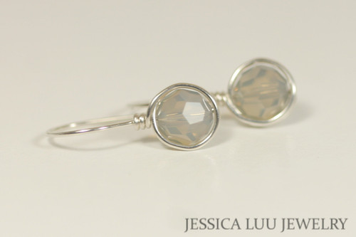 Sterling silver wire wrapped light grey opal Swarovski crystal drop earrings handmade by Jessica Luu Jewelry