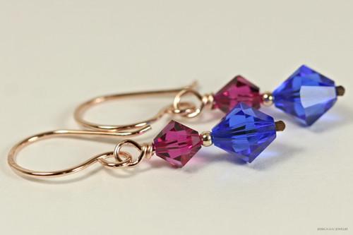 14K rose gold filled fuchsia pink purple bright majestic blue Swarovski crystal dangle earrings handmade by Jessica Luu Jewelry