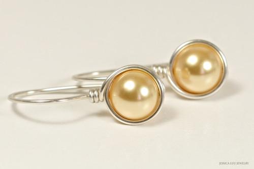 Sterling silver wire wrapped light yellow gold Swarovski pearl drop earrings handmade by Jessica Luu Jewelry