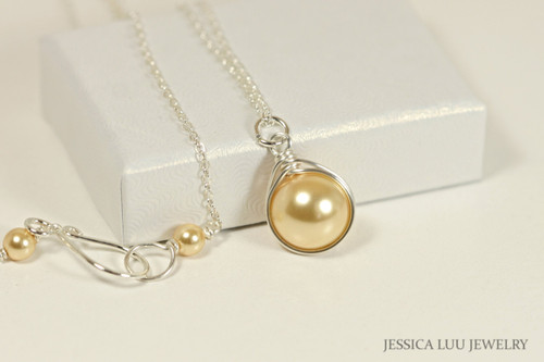 Sterling silver wire wrapped yellow gold Swarovski pearl solitaire pendant on chain necklace handmade by Jessica Luu Jewelry