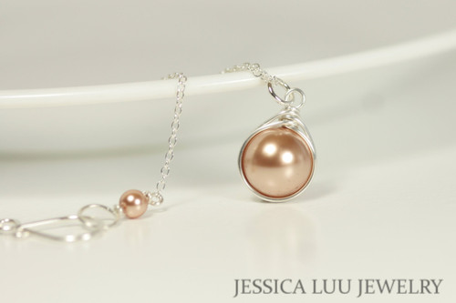 Sterling Silver Rose Gold Pearl Necklace - Available with Matching Earrings and Other Metal Options
