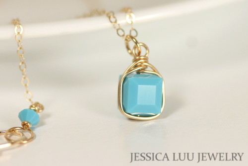 Gold Turquoise Blue Swarovski Crystal Necklace - Available with Matching Earrings and Other Metal Options