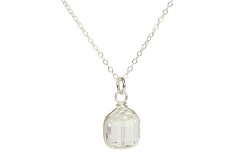 Sterling silver wire wrapped clear crystal cube pendant on chain necklace handmade by Jessica Luu Jewelry