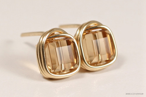 14K yellow gold filled wire wrapped light Colorado topaz Swarovski crystal cube stud earrings handmade by Jessica Luu Jewelry