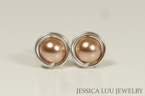 Sterling silver wire wrapped rose gold Swarovski pearl stud earrings handmade by Jessica Luu Jewelry