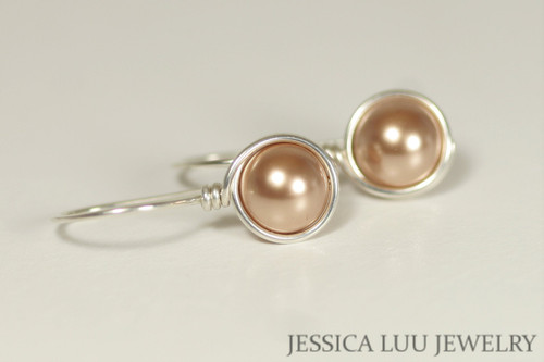 Sterling silver wire wrapped rose gold Swarovski pearl drop earrings handmade by Jessica Luu Jewelry