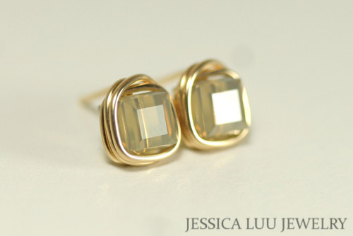 14K yellow gold filled wire wrapped tan sand opal Swarovski crystal cube stud earring handmade by Jessica Luu Jewelry