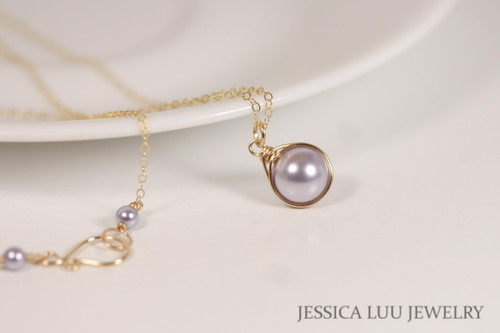 Gold Lavender Pearl Necklace - Available with Matching Earrings and Other Metal Options