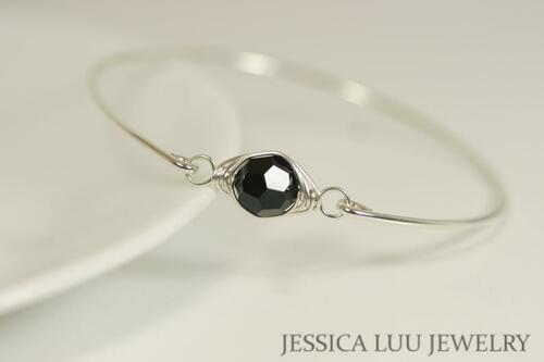 Sterling silver wire wrapped bangle bracelet with jet black Swarovski crystal handmade by Jessica Luu Jewelry
