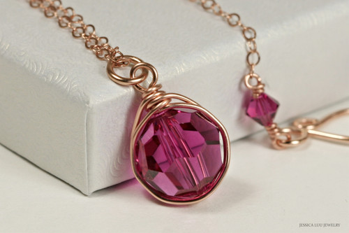 14k rose gold filled wire wrapped purple pink fuchsia Swarovski crystal solitaire pendant on chain necklace handmade by Jessica Luu Jewelry