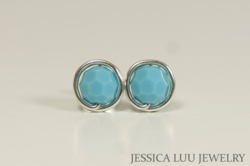 Sterling silver wire wrapped turquoise blue Swarovski crystal round stud earrings handmade by Jessica Luu Jewelry