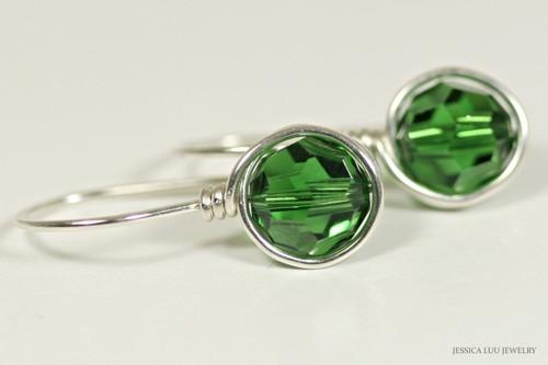 Sterling silver wire wrapped dark moss green crystal drop earrings handmade by Jessica Luu Jewelry