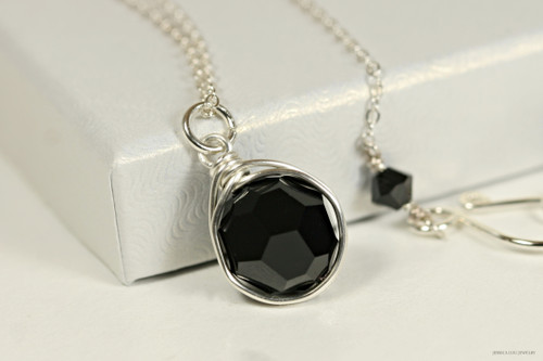 Sterling silver wire wrapped jet black Swarovski crystal solitaire pendant on chain necklace handmade  by Jessica Luu Jewelry
