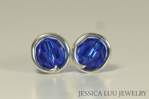 Sterling silver wire wrapped majestic cobalt blue crystal round stud earrings handmade by Jessica Luu Jewelry