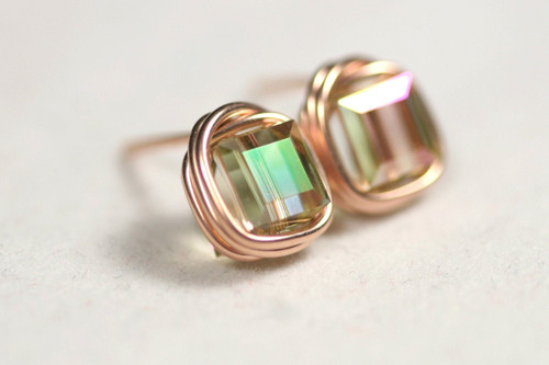 Rose Gold Iridescent Swarovski Crystal Stud Earrings - Available with Matching Necklace and Other Metal Options