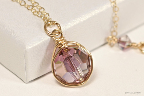 14k rose gold filled wire wrapped lilac shadow purple Swarovski crystal solitaire pendant on chain necklace handmade  by Jessica Luu Jewelry