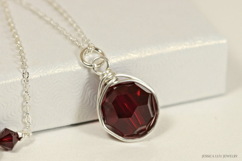 Sterling silver wire wrapped pendant on chain necklace with garnet Siam dark red Swarovski crystals handmade by Jessica Luu Jewelry