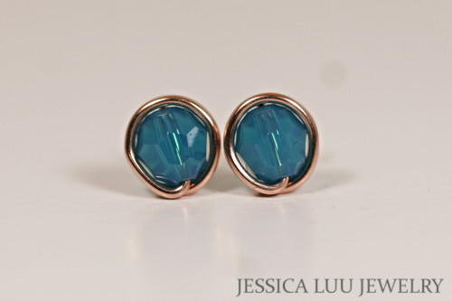 14K rose gold filled wire wrapped Caribbean blue opal crystal stud earrings handmade by Jessica Luu Jewelry