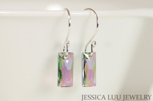 Sterling silver paradise shine multi colored clear Swarovski crystal baguette pendant dangle earrings handmade by Jessica Luu Jewelry