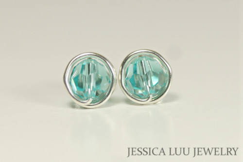 Sterling Silver Aqua Swarovski Crystal Stud Earrings - Available in 2 Sizes and Other Metal Options