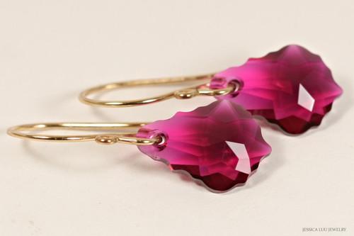 14K yellow gold filled ruby Swarovski crystal baroque dangle earrings handmade by Jessica Luu Jewelry