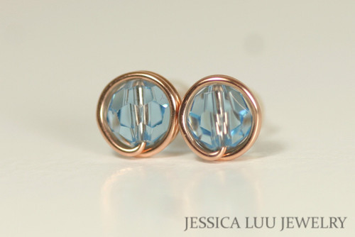 14k rose gold filled wire wrapped aquamarine blue Swarovski crystal round stud earrings handmade by Jessica Luu Jewelry