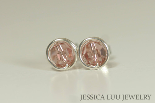 Sterling Silver Pink Swarovski Crystal Stud Earrings - Available in 2 Sizes and Other Metal Options