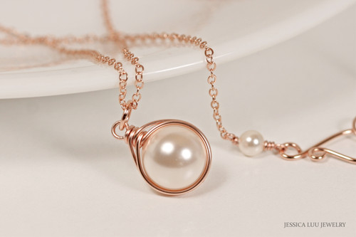 14K rose gold filled wire wrapped necklace with creamrose Swarovski pearl solitaire pendant handmade by Jessica Luu Jewelry