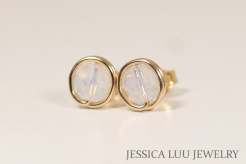 14K yellow gold filled white opal Swarovski crystal stud earrings handmade by Jessica Luu Jewelry