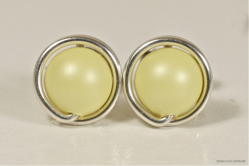 Sterling silver wire wrapped light pastel yellow Swarovski pearl stud round earrings handmade by Jessica Luu Jewelry