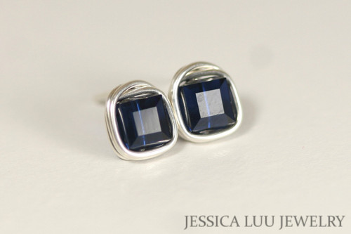 Sterling Silver Navy Blue Swarovski Crystal Stud Earrings - Available with Matching Necklace and Other Metal Options