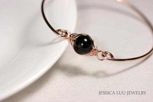 Rose Gold Black Pearl Bangle Bracelet - Other Metal Options Available