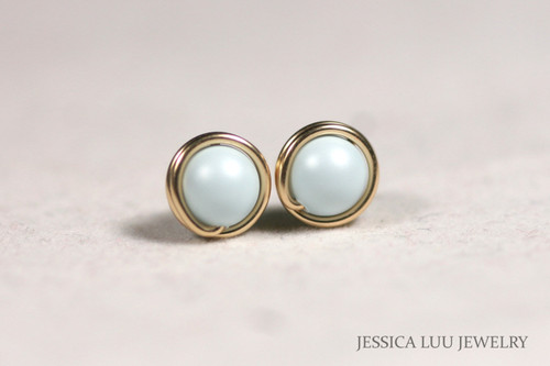 Gold Light Blue Pearl Stud Earrings - Available in 2 Sizes and Other Metal Options