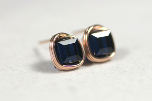 Rose Gold Dark Blue Swarovski Crystal Stud Earrings - Available with Matching Necklace and Other Metal Options