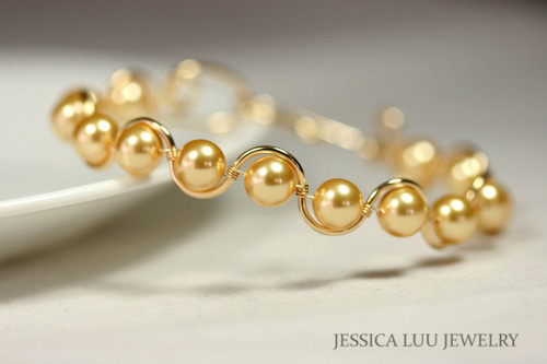 14k yellow gold filled wire wrapped bracelet with Swarovski pearls handmade by Jessica Luu Jewelry