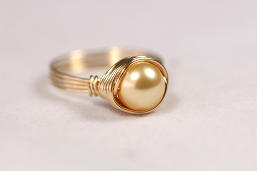 Gold Pearl Solitaire Ring - Other Metal Options Available