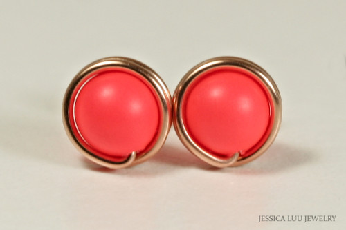 14K rose gold filled wire wrapped bright neon red Swarovski pearl stud earrings handmade by Jessica Luu Jewelry