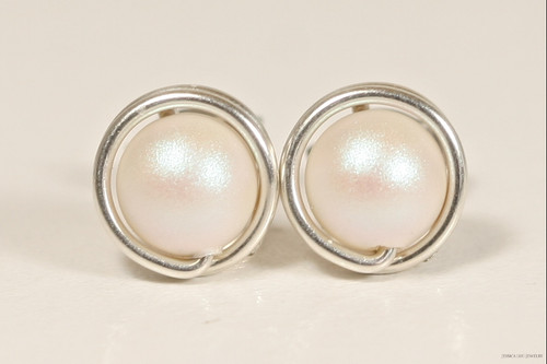 Sterling silver wire wrapped iridescent pearlescent white Swarovski pearl stud earrings handmade by Jessica Luu Jewelry