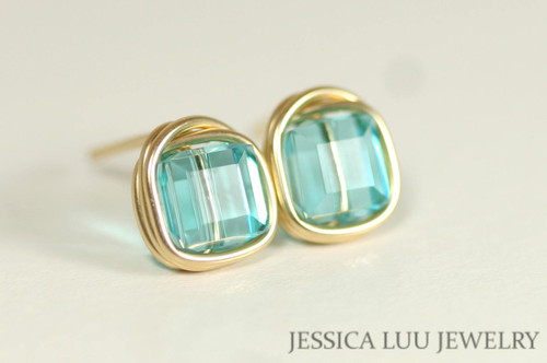 Gold Blue Green Swarovski Crystal Stud Earrings - Available with Matching Necklace and Other Metal Options