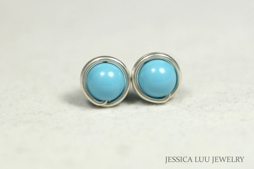 Sterling Silver Turquoise Stud Earrings - Available in 2 Sizes and Other Metal Options