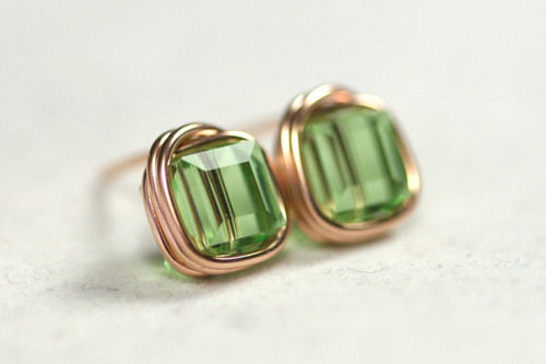 Rose Gold Peridot Swarovski Crystal Stud Earrings - Available with Matching Necklace and Other Metal Options