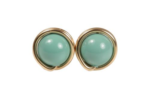 14K yellow gold filled wire wrapped jade Swarovski pearl stud earrings handmade by Jessica Luu Jewelry