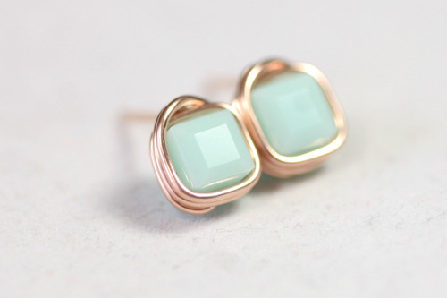 14K rose gold filled wire wrapped light mint alabaster green Swarovski crystal cube square stud earrings handmade by Jessica Luu Jewelry