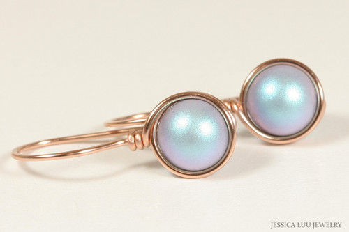 14K rose gold filled wire wrapped iridescent light blue Swarovski pearl drop earrings handmade by Jessica Luu Jewelry