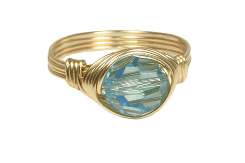 14K yellow gold filled wire wrapped aquamarine Swarovski crystal solitaire ring handmade by Jessica Luu Jewelry