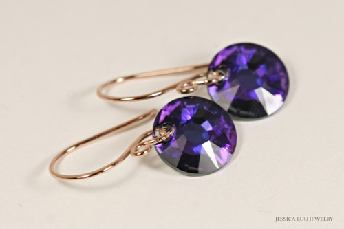14K rose gold filled earrings with purple heliotrope Swarovski crystal sun pendants handmade by Jessica Luu Jewelry